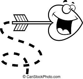 Heart Arrow - A cartoon heart shaped arrow happy and...
