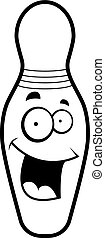 Bowling Pin Smiling - A cartoon bowling pin happy and...