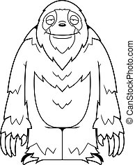 Cartoon Sloth Smiling - A cartoon sloth standing and smiling...