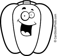 Cartoon Bell Pepper Smiling - A cartoon green bell pepper...