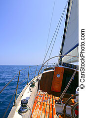 Sailing with an old sailboat over mediterranean sea -...