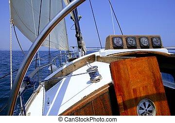viejo, Navegación, velero, encima, Mediterráneo, mar