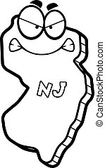 Cartoon Angry New Jersey - A cartoon illustration of the...