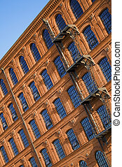 Historic factory building style.