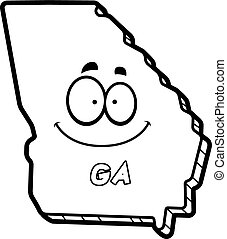 Cartoon Georgia - A cartoon illustration of the state of...