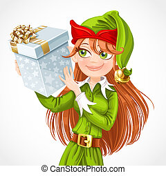 Cute girl Santa elf with gift isolated on a white background