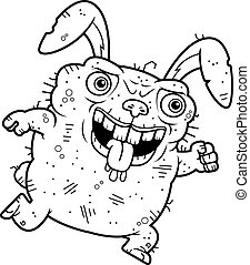 Ugly Bunny Running - A cartoon illustration of an ugly bunny...