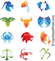 Horoscopes - Zodiac Star Signs isolated on a white...