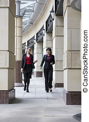 Asian and Caucasian businesswomen having chat - Two...