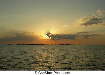Orange sunset on the Amazon - Orange sunset on the Rio Negro...