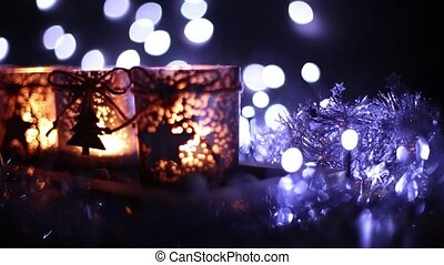 Advent, four candles decorated Christmas tree on a...