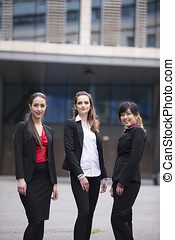 empresa / negocio, retrato, tres, mujeres