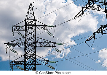electric line with cloudy blue sky at background