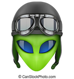 Green Alien head in aviator helmet Iillustration isolated on...