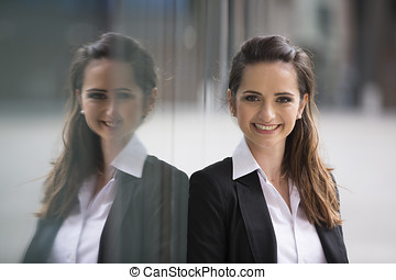 Caucasian business woman standing outdoors - Portrait of a...