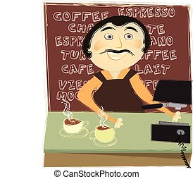 The Barista - Man working at a counter in a coffee shop
