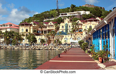 Coastline in St. Martin - Views of the capital city of...