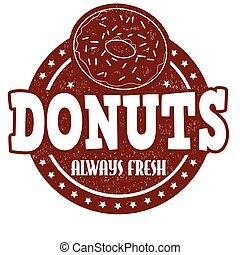 Donuts stamp - Donuts grunge rubber stamp on white...