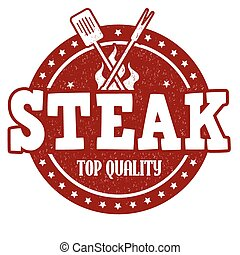 Steak stamp - Steak grunge rubber stamp on white background,...