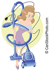 Cleaning girl with a hoover