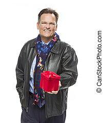Man Wearing Black Leather Jacket Holding Christmas Gift on White