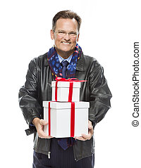 Man Wearing Black Leather Jacket Holding Christmas Gifts on Whit
