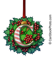 Ornament Capital Letter - A candy cane capital letter as...
