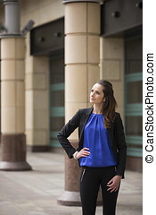 Caucasian business woman standing outdoors. - Portrait of a...