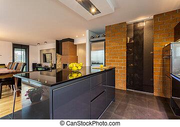 contemporáneo, cocina, interior,