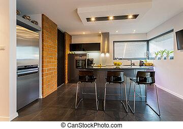 ladrillo, pared, en, contemporáneo, cocina,