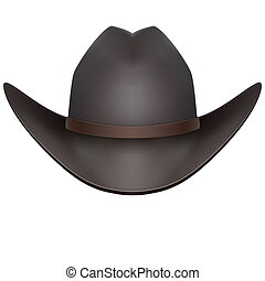 Black cowboy hat Isolated on white background - Black cowboy...