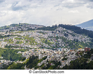 houses at a hill in Quito, capital of Equador