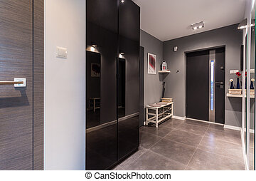Gray anteroom in contemporary dwelling - Anteroom with gray...