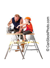 Dad with son and circle saw - Cute son is helping dad...