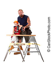 Father teaching son drilling - Caucasian dad is teaching...