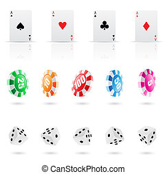 casino icons - playing cards, roulette chips and dices icons