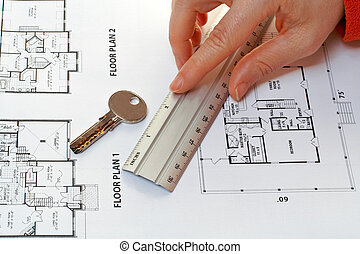 house key, measure and architectural plan