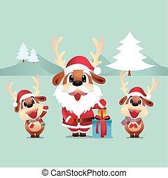 Reindeer santa vector