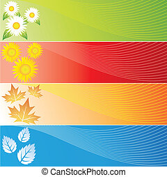 Four Seasons Banners - vector illustration of colourful Four...