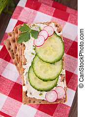 Crispbread, con, queso, y, pepino,