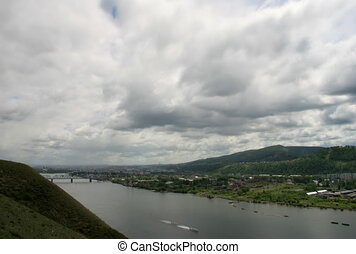 The Landscape with cloud. - The River, the sky, clouds.