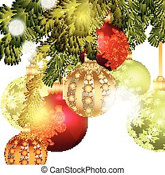 Christmas baubles isolated on Chris - Christmas card for...