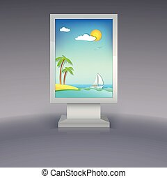 Advertising stand with summer vacation - Advertising stand...