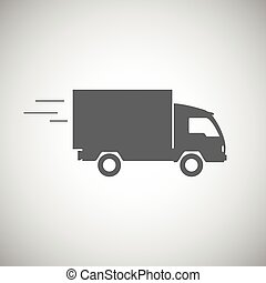 Delivery truck contour, flat icon Editable vector...