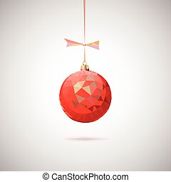 Red Christmas ball with triangles.