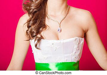 hermoso, collar, alrededor, el, neck, ,