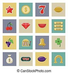 Slot machine and gambling flat icon set