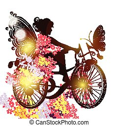 Flower fairy on a bicycle symbol of - Illustration with...