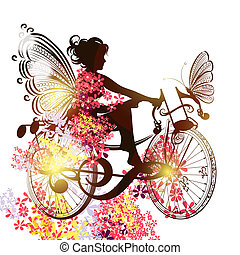 Flower fairy on a bicycle symbol of music inspiration -...