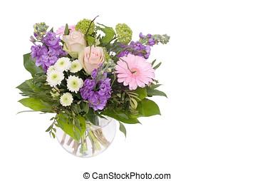 floral bouquet - vase mit verschiedenen blumen, geschenk vom...